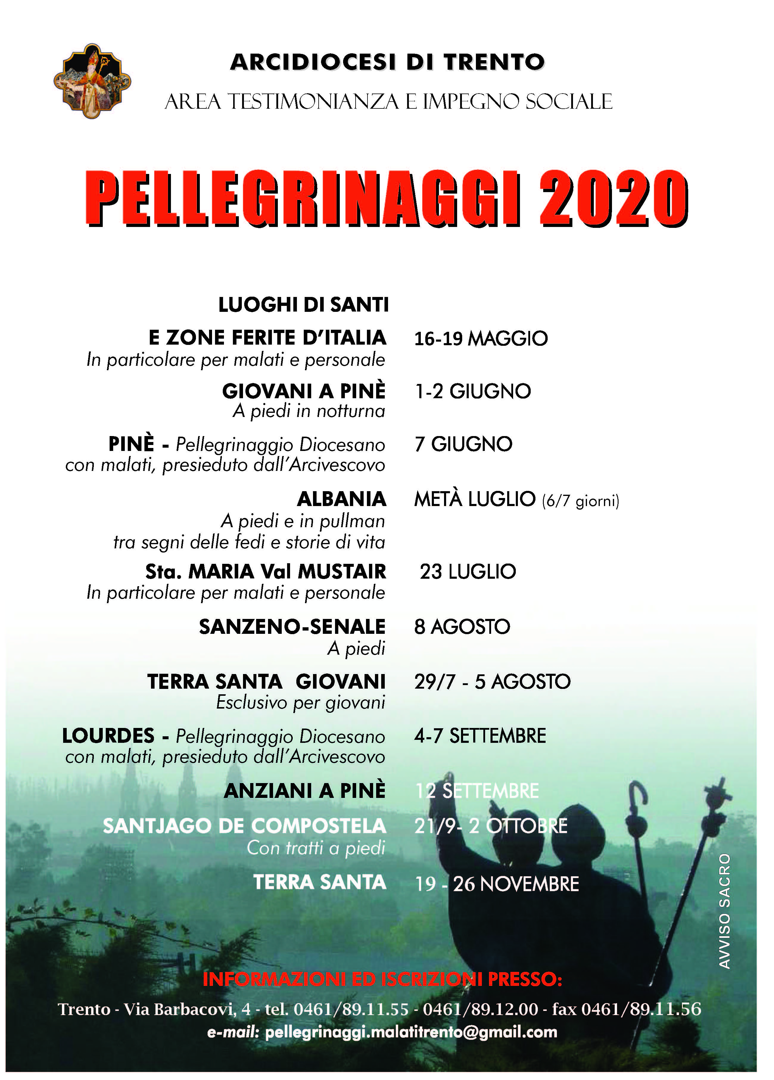Calendario Pellegrinaggi diocesani 2020