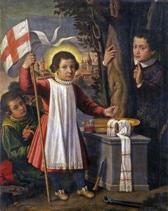 Pittore cremonese (?), Simonino da Trento trionfante con due fanciulli, fine XVI - inizio XVII secolo, Ferrara, Pinacoteca nazionale